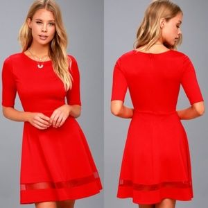 Lulu's Red Sheer Factor Mesh Skater Dress